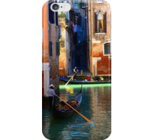 Gondoliers rowing on a canal iPhone Case/Skin