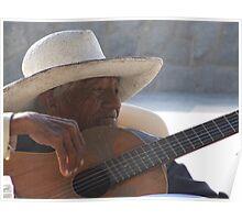 Wrinkled guitar man Poster