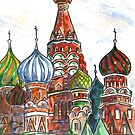 Colorful Shapes in a Red Square by Marsha Elliott