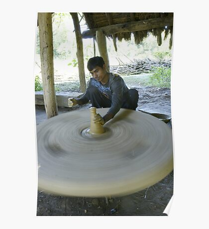 Nepalese potter in Bardia Poster