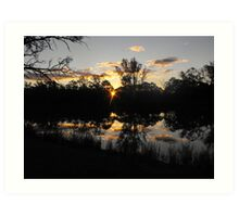 Renmarks sun piercing through the river red gums. Art Print