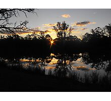 Renmarks sun piercing through the river red gums. Photographic Print
