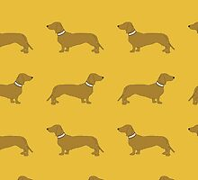 Sausage Dogs - yellow by polkadotjelly