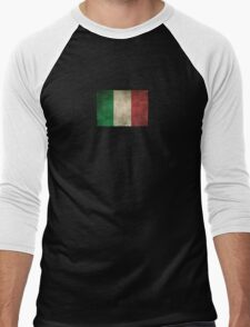 Old and Worn Distressed Vintage Flag of Italy Men's Baseball ¾ T-Shirt