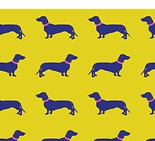 Sausage Dogs - blue & yellow by polkadotjelly
