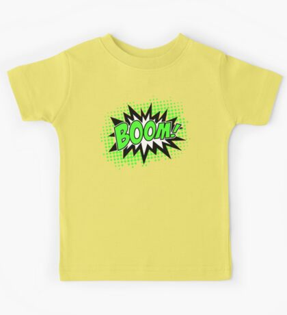 COMIC BOOM, Speech Bubble, Comic Book Explosion, Cartoon Kids Tee