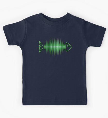 Music Fish Pulse Rate Frequency Dance House Techno Wave Kids Tee