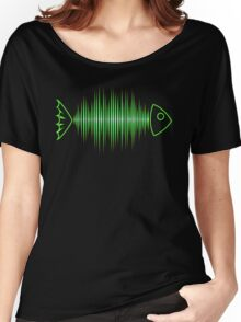 Music Fish Pulse Rate Frequency Dance House Techno Wave Women's Relaxed Fit T-Shirt