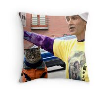A Cat And His Man Throw Pillow