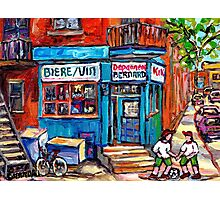 PAINTINGS OF KIDS PLAYING SOCCER NEAR MONTREAL DEPANNEUR BERNARD AND JEANNE MANCE Photographic Print