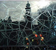 Forum Theatre refection on Federation Square. by Bernard (Ben)  Bosmans