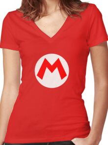 Super Mario Mario Icon Women's Fitted V-Neck T-Shirt