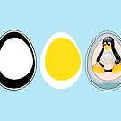 LINUX TUX  PENGUIN  3 EGGS by SofiaYoushi