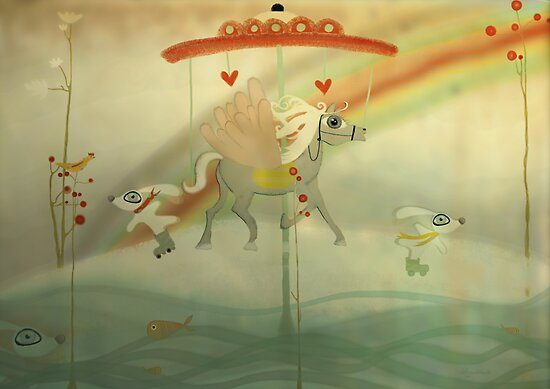 Snow riding my dreams whimsy love carrousel  by Ruth Fitta-Schulz