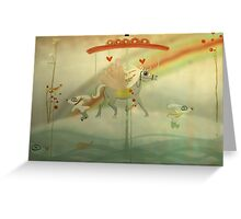 Snow riding my dreams whimsy love carrousel  Greeting Card