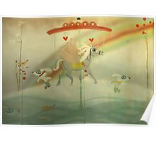 Snow riding my dreams whimsy love carrousel  Poster