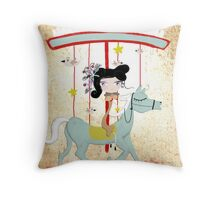 Carousel ribbon striped circus lighting bugs colorful whimsical streaks magic vintage ride doll print  Throw Pillow