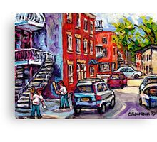 BASEBALL PAINTING AT CORNER OF  LOGAN AND PANET STREETS BEST MONTREAL ART SUMMER SCENES Canvas Print