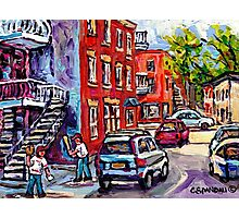 BASEBALL PAINTING AT CORNER OF  LOGAN AND PANET STREETS BEST MONTREAL ART SUMMER SCENES Photographic Print