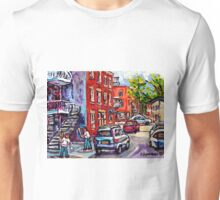 BASEBALL PAINTING AT CORNER OF  LOGAN AND PANET STREETS BEST MONTREAL ART SUMMER SCENES Unisex T-Shirt