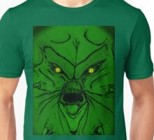 Green Demon with yellow glowing eyes Unisex T-Shirt