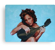 Jen with Mandolin Canvas Print