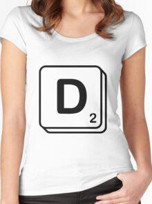 D scrabble print Women's Fitted Scoop T-Shirt