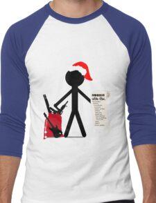 A Merry Stickman Xmas Men's Baseball ¾ T-Shirt