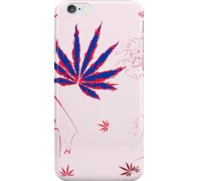 Crazy Marijuana Leaves and Scratches on Pink iPhone Case/Skin