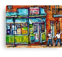 MONTREAL SUMMER SCENE PAINTINGS PLACE DUFRESNE DEPANNEUR  Canvas Print