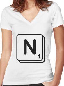 N scrabble print Women's Fitted V-Neck T-Shirt
