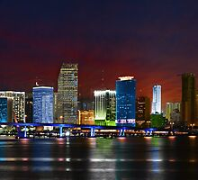 Miami City by Night by Atanas Bozhikov