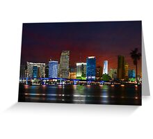 Miami City by Night Greeting Card