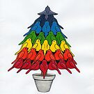 Rainbow Robins Christmas Tree by fesseldreg