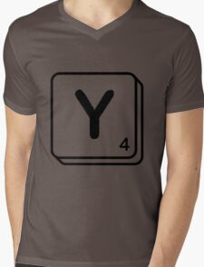Y scrabble print Mens V-Neck T-Shirt