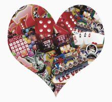 Heart - Las Vegas Playing Card Shape  One Piece - Short Sleeve