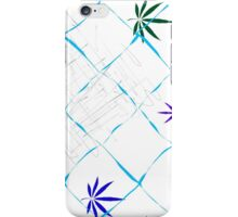 Colorful Marijuana Leaves, Grid and Scratches iPhone Case/Skin