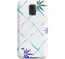 Colorful Marijuana Leaves, Grid and Scratches Samsung Galaxy Case/Skin