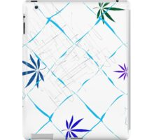 Colorful Marijuana Leaves, Grid and Scratches iPad Case/Skin