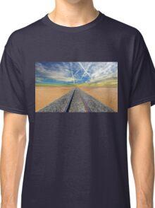Railroad tracks in Mojave Desert California Classic T-Shirt
