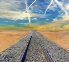 Railroad tracks in Mojave Desert California Sticker
