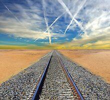Railroad tracks in Mojave Desert California by Brünø Beach .