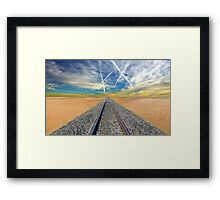 Railroad tracks in Mojave Desert California Framed Print