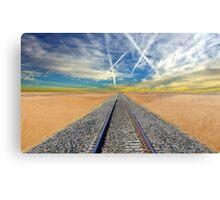 Railroad tracks in Mojave Desert California Canvas Print
