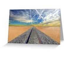 Railroad tracks in Mojave Desert California Greeting Card