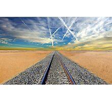 Railroad tracks in Mojave Desert California Photographic Print