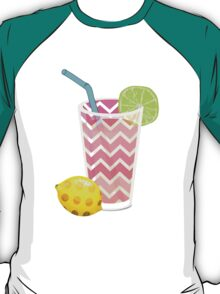 Cute Pink Chevron Lemonade with Lime Slice T-Shirt