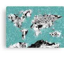 World Map landmarks Canvas Print