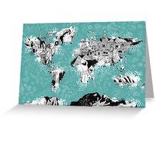 World Map landmarks Greeting Card