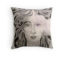 Angel of the Violet Flame pencil and pasel on paper Throw Pillow